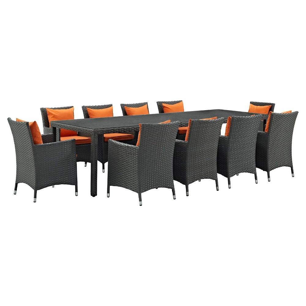 Sojourn 11pc 114 Outdoor Patio Sunbrella Dining Set - Carrot Orange - Modway