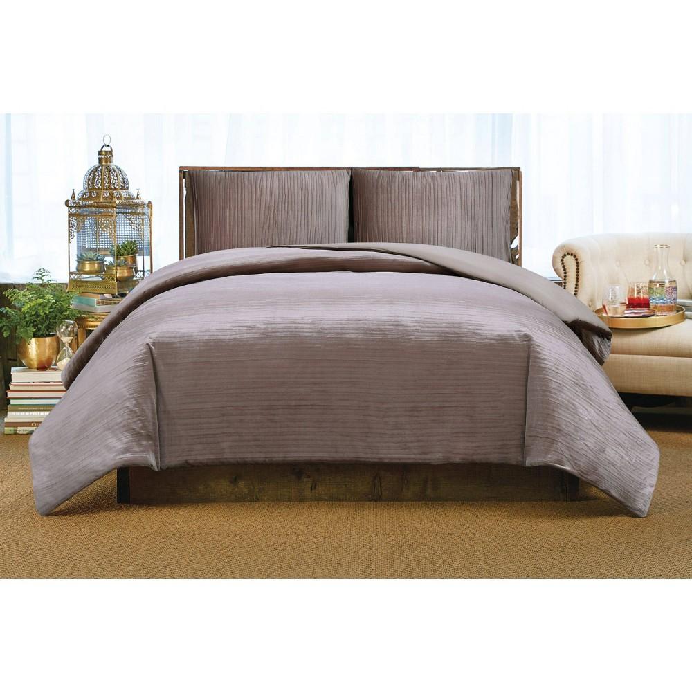 Image of Christian Siriano Crinkle Velvet Full/Queen Comforter Set Rosé, Rosé