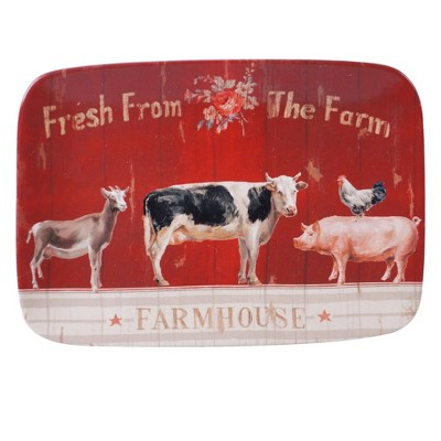 "14"" x 10"" Earthenware Farmhouse Serving Platter Red - Certified International"