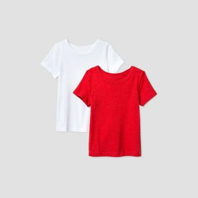 Toddler Boys' 2pk Adaptive Short Sleeve T-Shirt - Cat & Jack™ White/Red