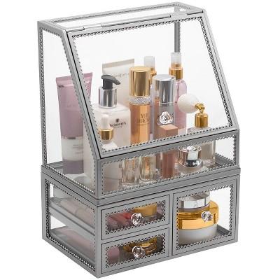 Sorbus Stackable Makeup Organizer - Silver