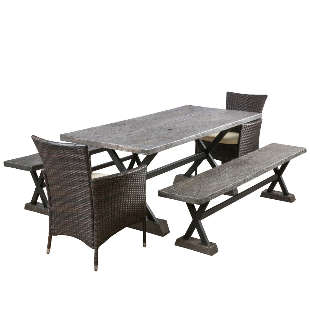 Numana 5pc Wicker and Mgo Picnic Dining Set - Brown - Christopher Knight Home