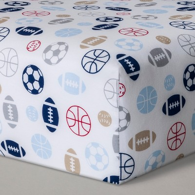 Fitted Crib Sheet Sports - Cloud Island™ Navy