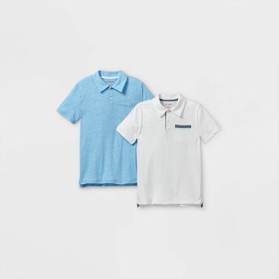 Boys' 2pk Short Sleeve Knit Polo Shirt - Cat & Jack™ Blue/White