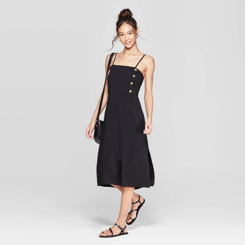 Women's Striped Strappy Side Button Top Midi Dress - Xhilaration Black S