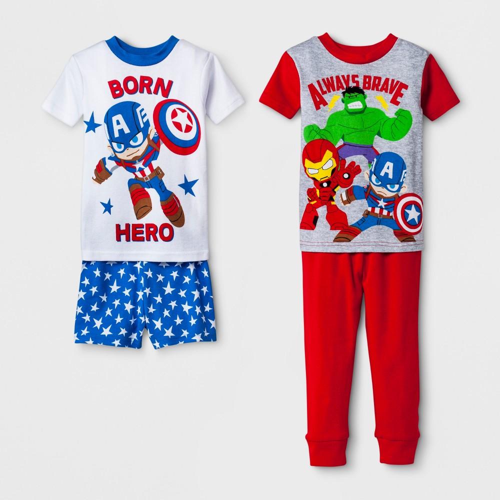 Toddler Boys' Marvel Avengers 4pc Pajama Set - White 4T