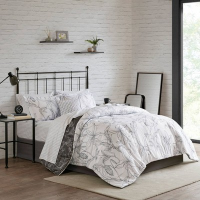 Lorine Queen 9pc Reversible Complete Bedding with Cotton Sheets Set White/Charcoal