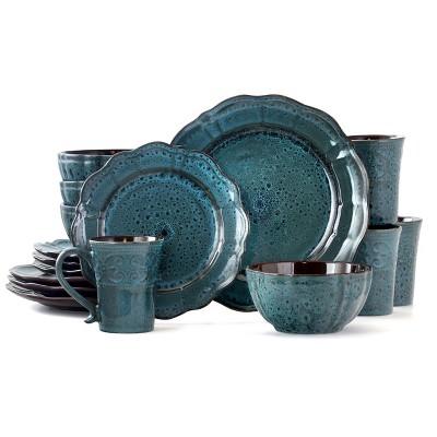 16pc Stoneware Scallop Pond Dinnerware Set Blue - Elama
