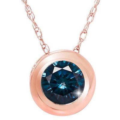 Pompeii3 3/8ct Blue Diamond Pendant 14K Rose Gold