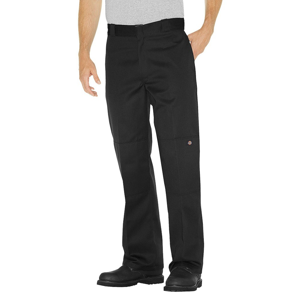 Dickies Men's Big & Tall Loose Straight Fit Twill Double Knee Work Pants with Extra Pocket- Black 44x30