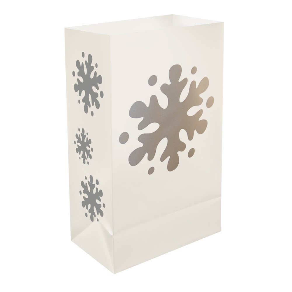 "Image of ""12ct Plastic Luminaria Bags """"Snowflake"""" Silver - LumaBase"""