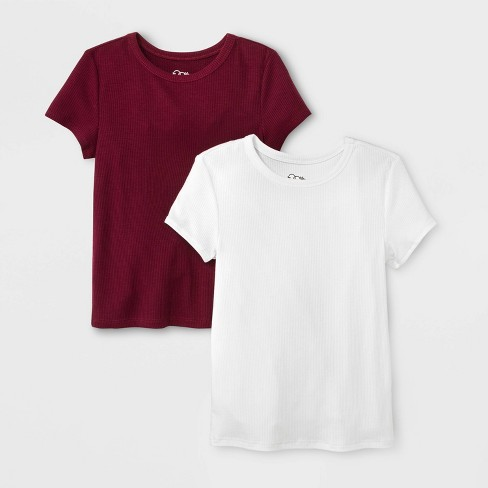 Girls' Short Sleeve Rib Neck 2pk T-Shirt - art class™ White/Burgundy - image 1 of 1