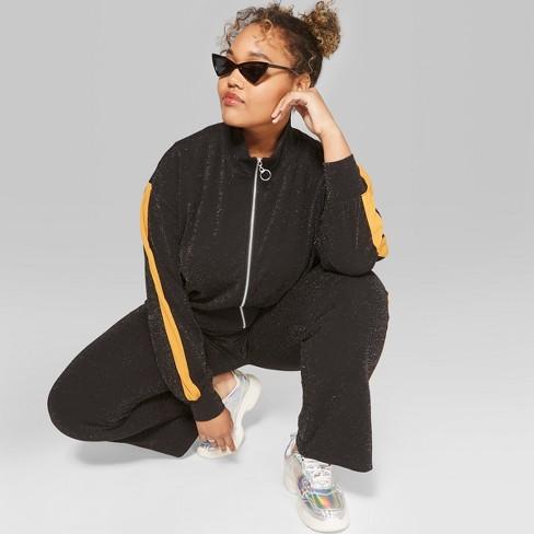 e373289fe5656 Women s Plus Size Long Sleeve Glitter Track Jacket - Wild Fable™ Black