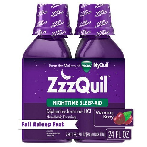 ZzzQuil Nighttime Sleep-Aid Liquid - Diphenhydramine HCl - Warming Berry Flavor - 2ct/ 24 fl oz Total - image 1 of 4