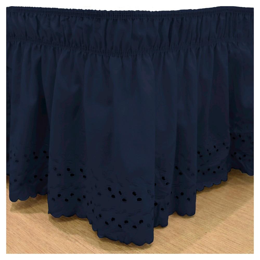 Navy (Blue) Wrap Around Eyelet Ruffled Bed Skirt (Queen/King) (80X60) -EasyFit