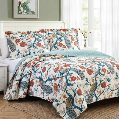 Modern Threads 2 Or 3 Piece 100% Cotton Enzyme Washed Quilt Set Penelope.