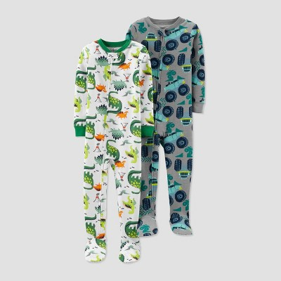 Baby Boys' Monster Truck & Dino 100% Cotton Footed Pajama - Just One You® made by carter's Gray 12M