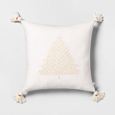 """18"""" x 18"""" Tree Embroidered Toss Pillow with Tassels Tonal Cream - Hearth & Hand™ with Magnolia"""