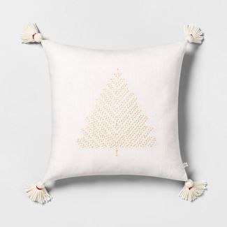 Tree Embroidered Toss Pillow Tonal Cream with Tassels - Hearth & Hand™ with Magnolia