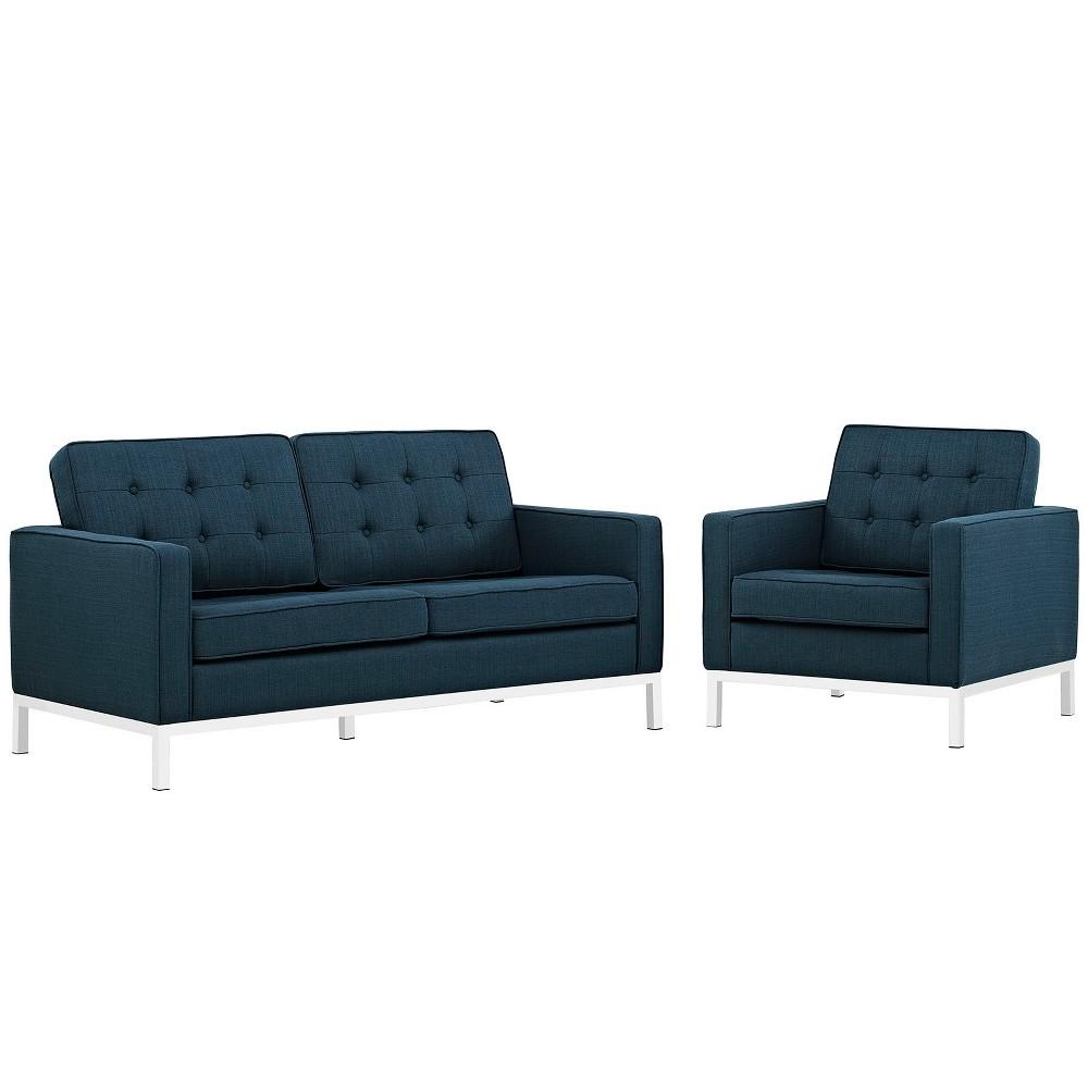 Loft Living Room Set Upholstered Fabric Set of 2 Azure (Blue) - Modway