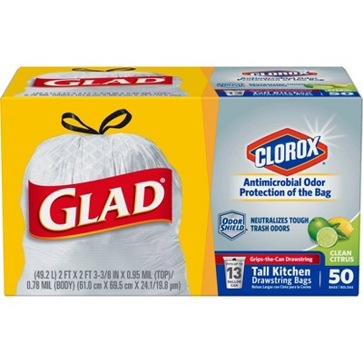 Glad Tall Kitchen Drawstring Trash Bags - Antimicrobial Protection 13 Gallon - White Scented - 50ct