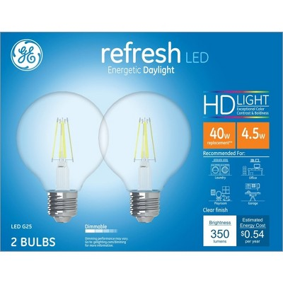 40W Refresh 2pk G25 Clear LED Light Bulb White - General Electric