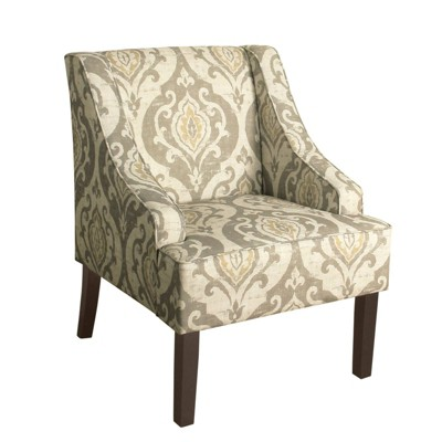 Fabric Upholste Wooden Accent Chair with Damask Pattern - Benzara