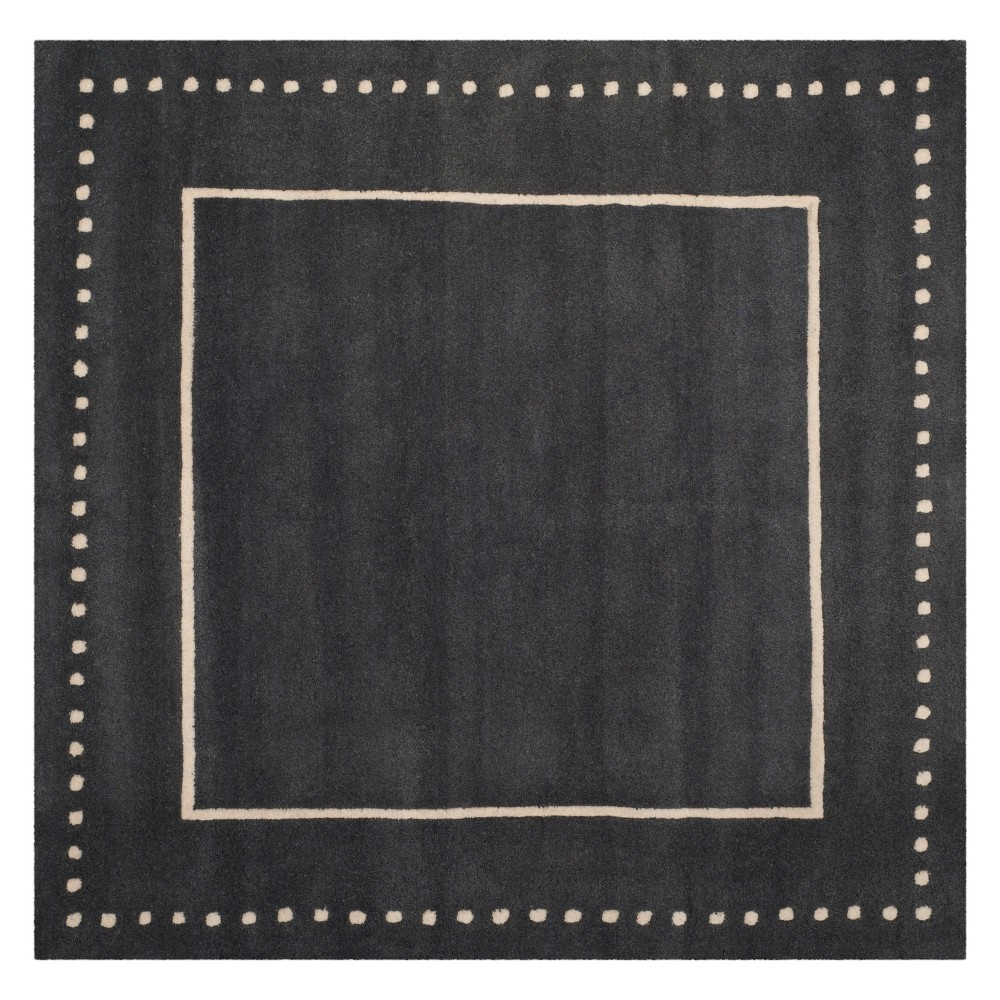 5'X5' Solid Square Area Rug Dark Gray/Ivory - Safavieh