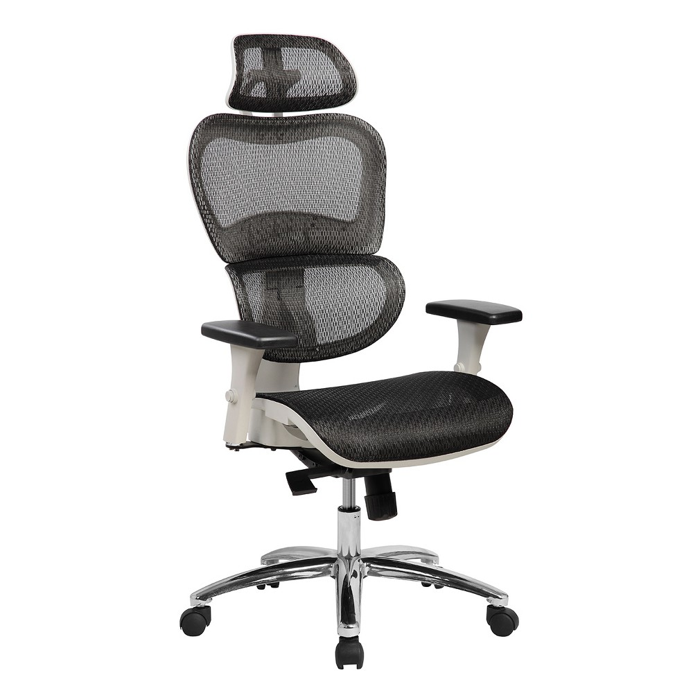 Deluxe High Back Mesh Executive Office Chair with Neck Support- Black- Techni Mobili, Black