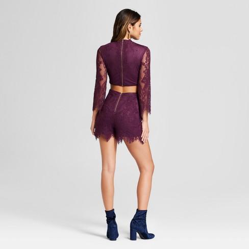 ec2f48e381f Women s Lace Cut-Out Long Sleeve Romper - Xhilaration™ Purple S   Target