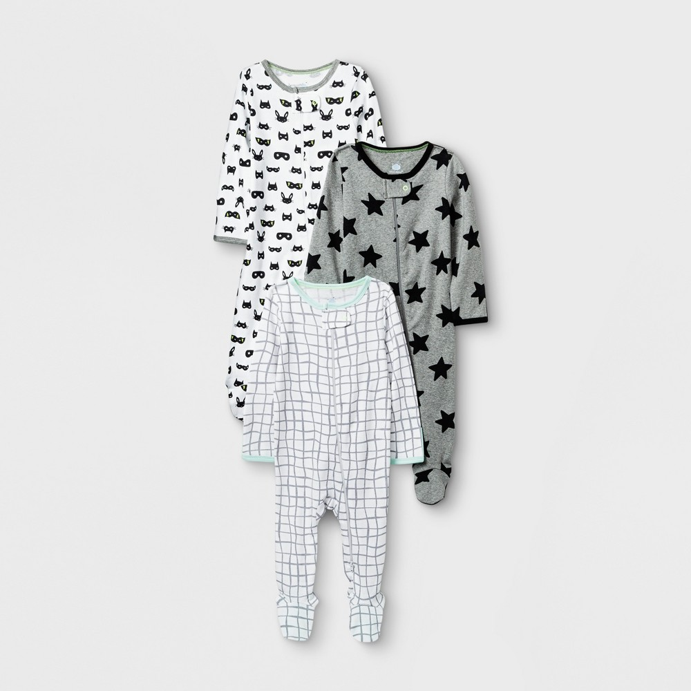Baby Boys' Save the Day 3pk Zip Sleep 'N Play - Cloud Island White 0-3M