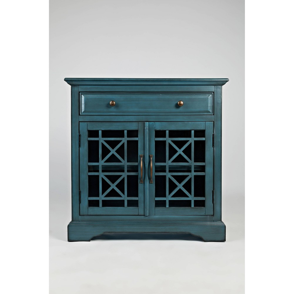 "Image of ""32"""" Spacious Wooden Accent Chest Blue - Benzara"""