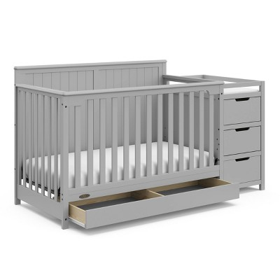 Graco Hadley 4-in-1 Convertible Crib and Changer with Drawer - Pebble Gray