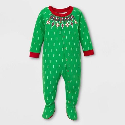 Baby Holiday Fairisle Footed Pajamas - Wondershop™ Green - image 1 of 2