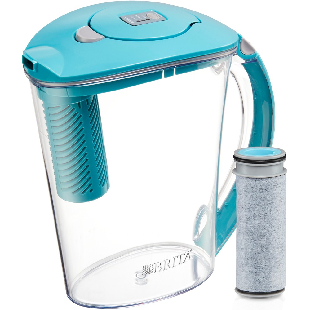 Image of Brita Large 10 Cup BPA Free Stream Filter as You Pour Water Pitcher with 1 Filter - Blue, Blue Blue
