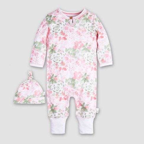 Burt s Bees Baby Girls  2pc Organic Cotton Succulent Flowers Ruffled  Coverall and Hat Set - Multi f3e91bea2050