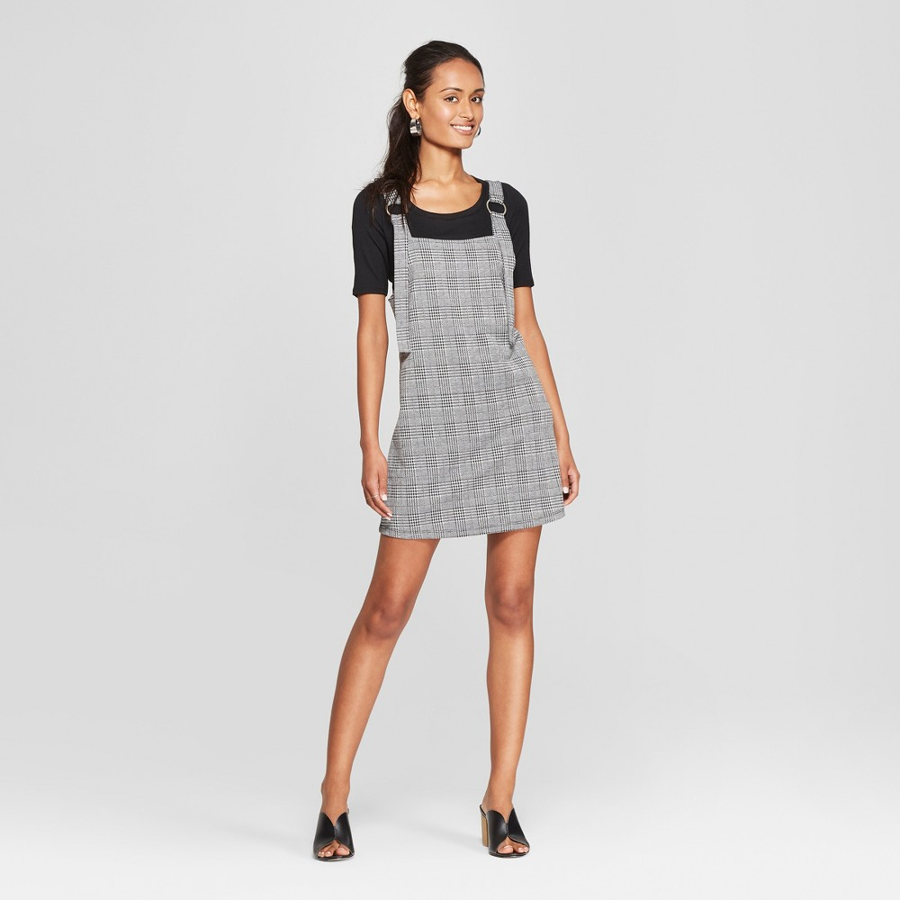 Women's Plaid Sleeveless Jumper Dress - 3Hearts (Juniors') Black/White XL