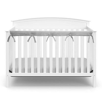 TL Care Heavenly Soft Narrow Reversible Crib Cover for Long Rail Gray/White