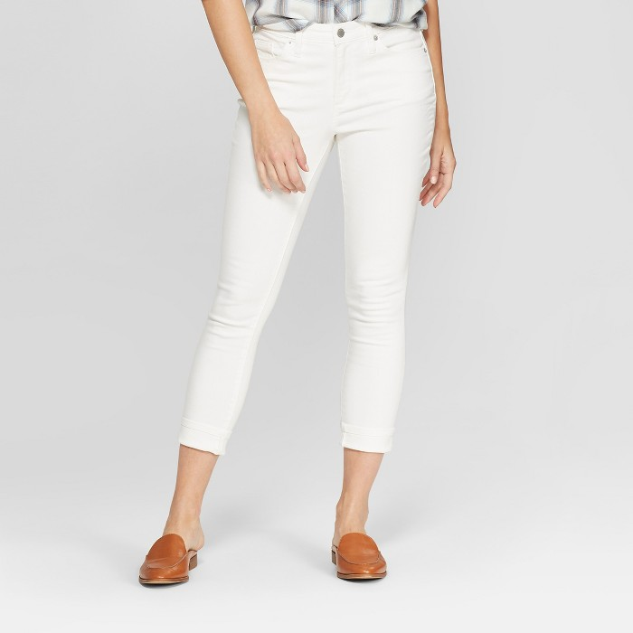 Women's High-Rise Cuffed Hem Skinny Crop Jeans - Universal Thread™ White - image 1 of 3