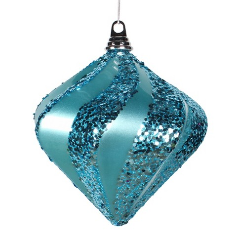"8"" Teal/Sea Blue Candy Glitter Swirl Diamond Christmas Ornament - image 1 of 1"