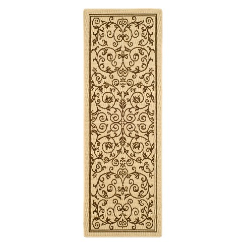 "Vaucluse Rectangle 2'3"" X 10' Outdoor Rug - Natural / Brown - Safavieh® - image 1 of 2"