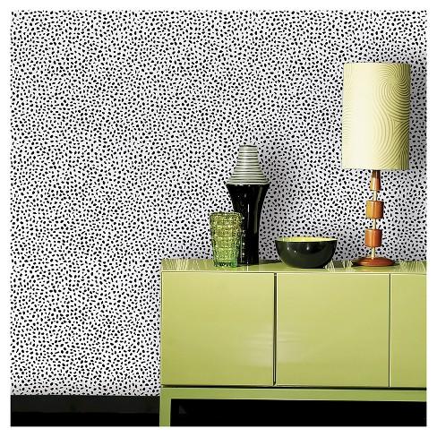 Devine Color Speckled Dot Peel Stick Wallpaper Black
