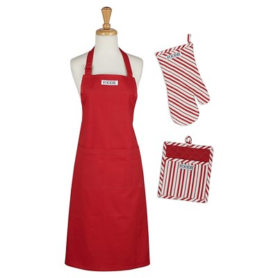 Tomato Chef Gift Set Includes Apron pot holder oven mitt Red - Design Imports