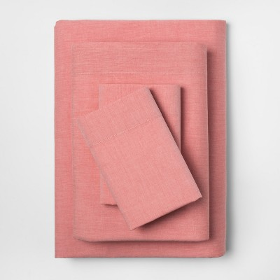 Vintage Wash Percale Sheet Set (Queen)Coral Chambray - Threshold™