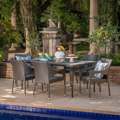 Colt 7pc Wicker Dining Set - Gray - Christopher Knight Home