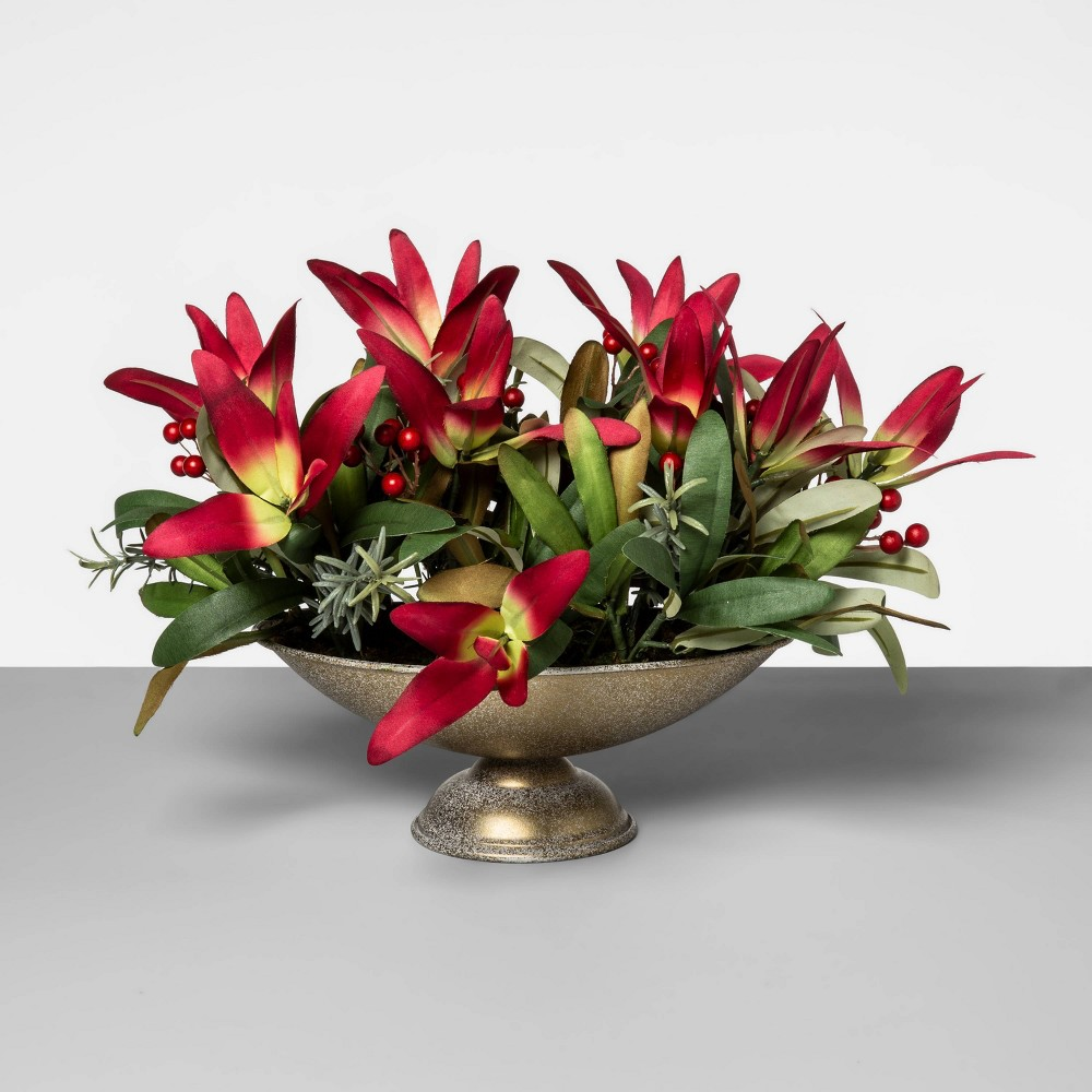 "Image of ""10"""" x 6"""" Artificial Protea and Rose Hip Arrangement Green/Pink - Opalhouse"""