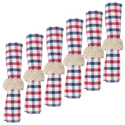 C&F Home Picnic Plaid Red White and Blue Cotton July 4th Napkin Set of 6