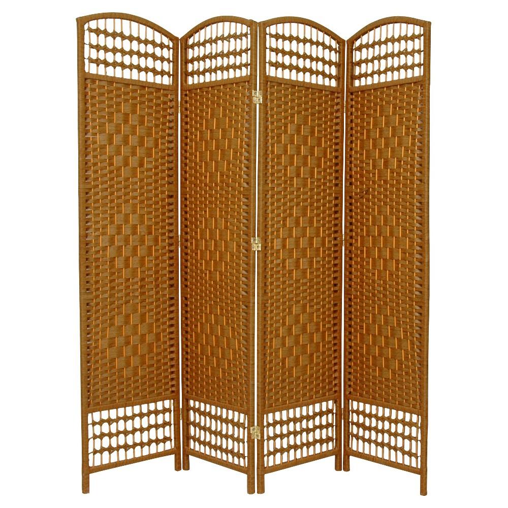 5 1/2 ft. Tall Fiber Weave Room Divider - Light Beige (4 Panels), Pumpkin