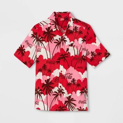 Men's Coca-Cola Short Sleeve Button-Down Shirt - Red/White