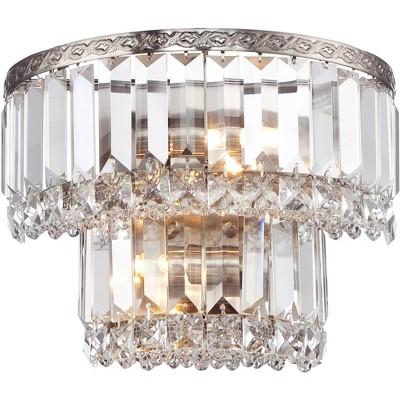 "Vienna Full Spectrum Modern Wall Light Sconce Satin Nickel Hardwired 10"" Wide Fixture Tiered Crystal for Bedroom Bathroom Hallway"